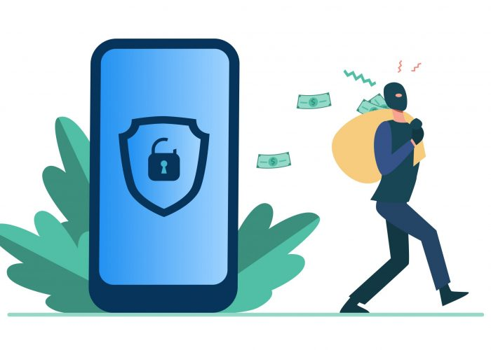 Criminal hacking personal data and stealing money. Hacker carrying bag with cash from unlock phone flat vector illustration. Fraud, security concept for banner, website design or landing web page