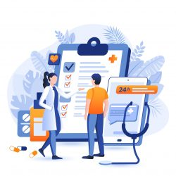 Online medicine scene. Patient consults with doctor via smartphone application. Healthcare, medical prescriptions, diagnosis, treatment concept. Vector illustration of people characters in flat design